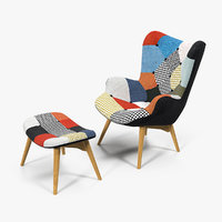 Grant Featherston Contour Lounge Chair Fabric Multicolour 3D Model