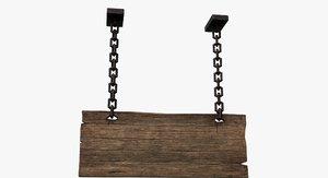 wood sign v2 - 3D