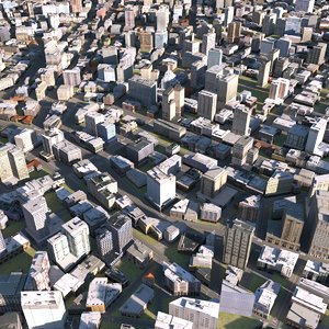 3D town city downtown model