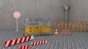 concrete road barrier 3D model
