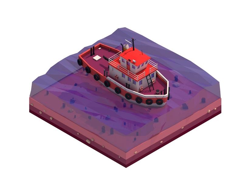 3D cartoon tugboat illustration