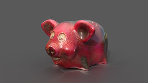 piggybank porcelain pig money 3D model