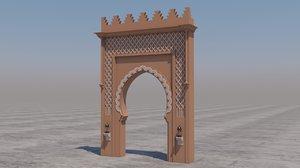 traditional moroccan door marrakech 3D