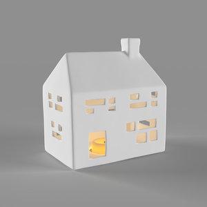 3D model white ceramic house 2