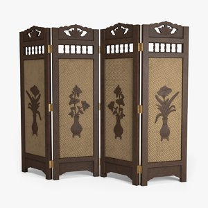 antique folding screen 3D model