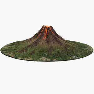 3D volcano lava v2 model