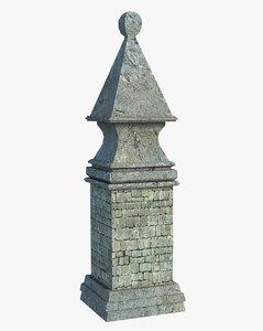 3D ancient pillar
