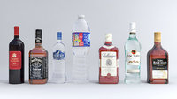 Pack of water alcohol and wine bottles Low-poly 3D model