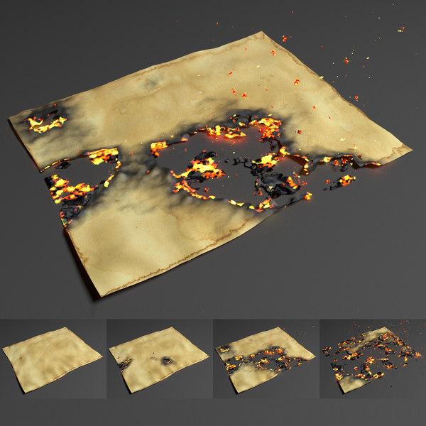 animation burning paper 3D model