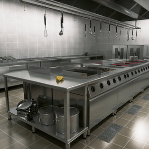commercial kitchen 3D