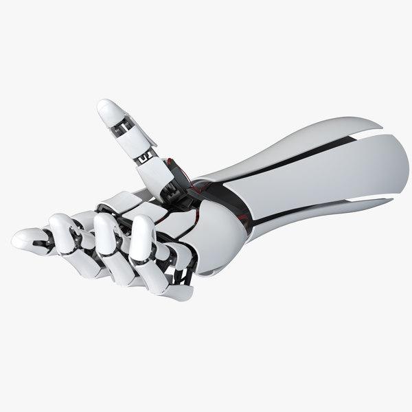 3D robot hand arm rigging model