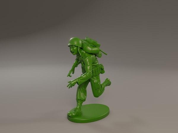 american soldier ww2 run 3D model