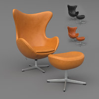 3D leather egg chair ottoman model