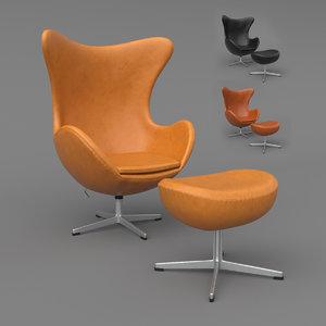 3D leather egg chair ottoman model