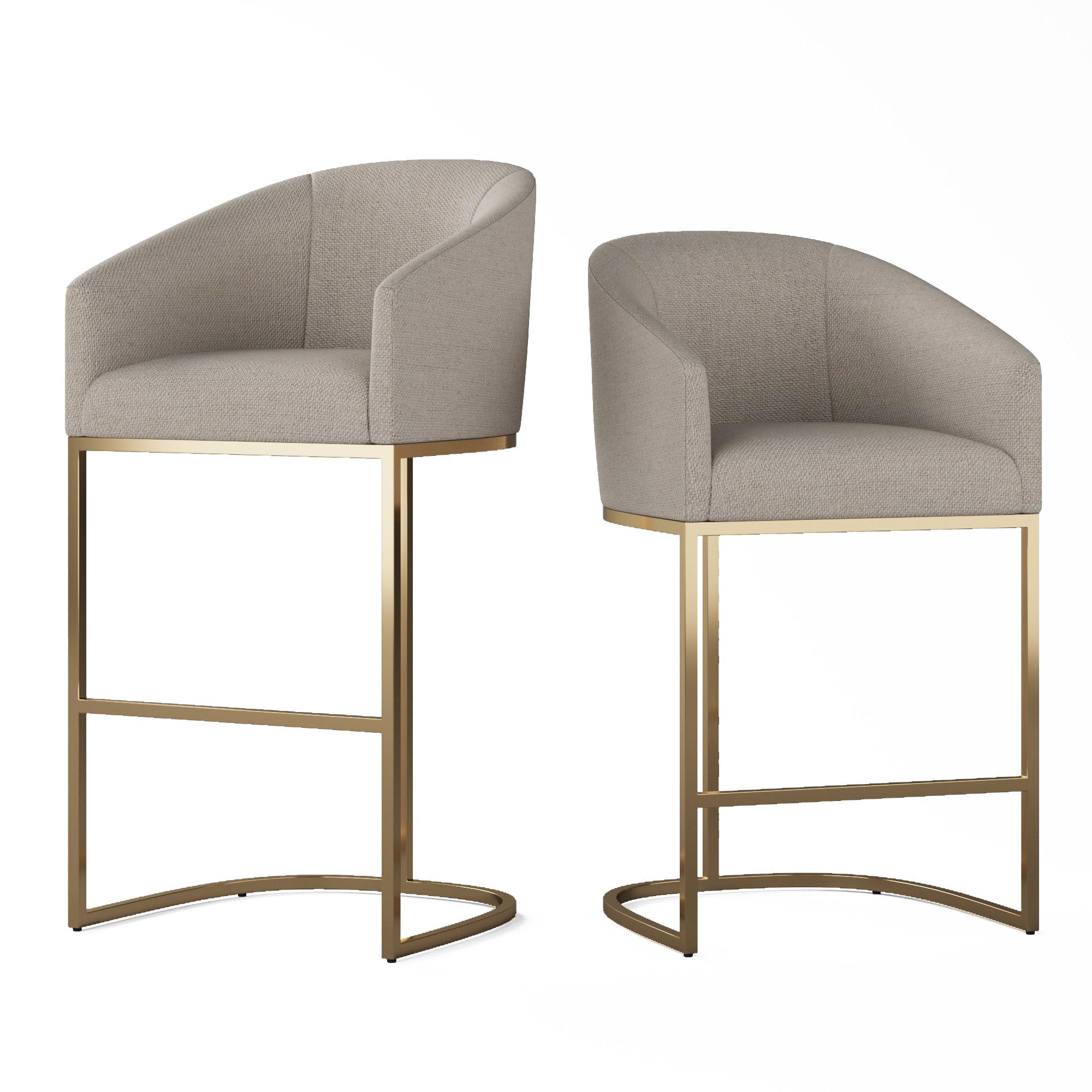 Peachy Rh Emery Barrelback Slope Fabric Stool Machost Co Dining Chair Design Ideas Machostcouk