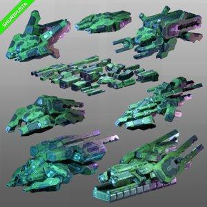 sci-fi spaceships asset ships 3D model