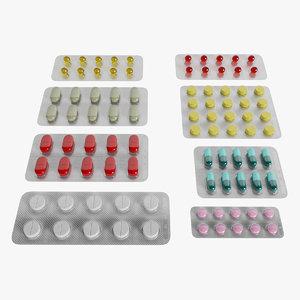 pills blisters 3D model
