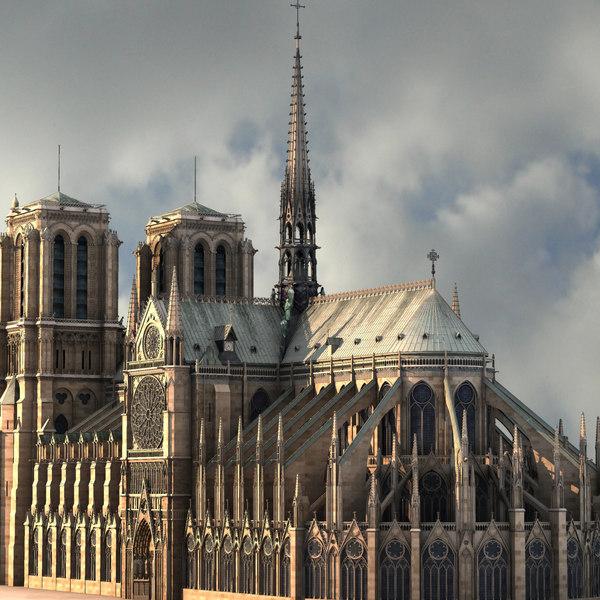 3d notre dame paris cathedral model