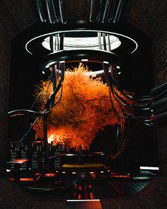 3D model science fiction laboratory lab
