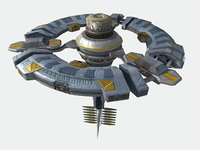 Space Station Spaceship Low-poly 3D model