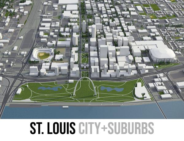 city st louis surrounding 3D model