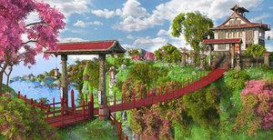 3D bridge asian asia model