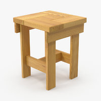 wooden stool wood 3D model