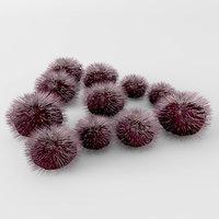 3D purple sea urchin model