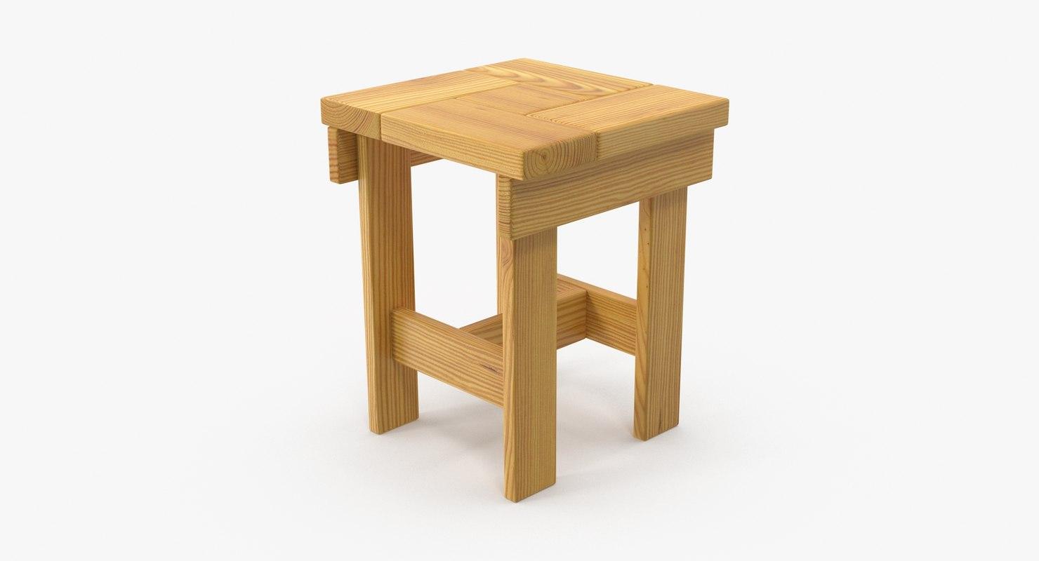 wooden stool wood 3D model