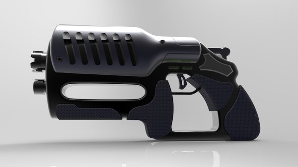 3D model futuristic blaster gun