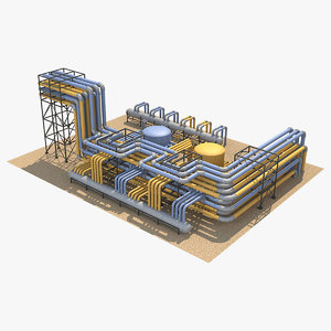 3D industrial pipes 4 model