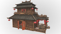 Fantasy Medieval Oriental Chinese Environment Shop 03 PBR Game VR VR / AR / low-poly 3d model