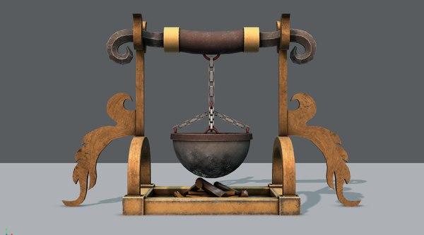 3D model charcoal pot v01