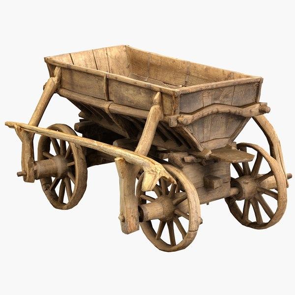 3D old wooden cart