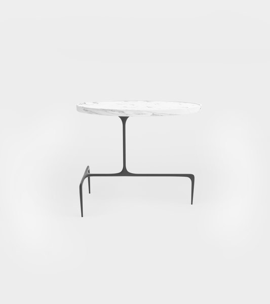 3D oval occasional table modeled model
