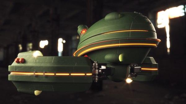3D sci-fi drone concept model