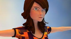 3D cartoon girl home