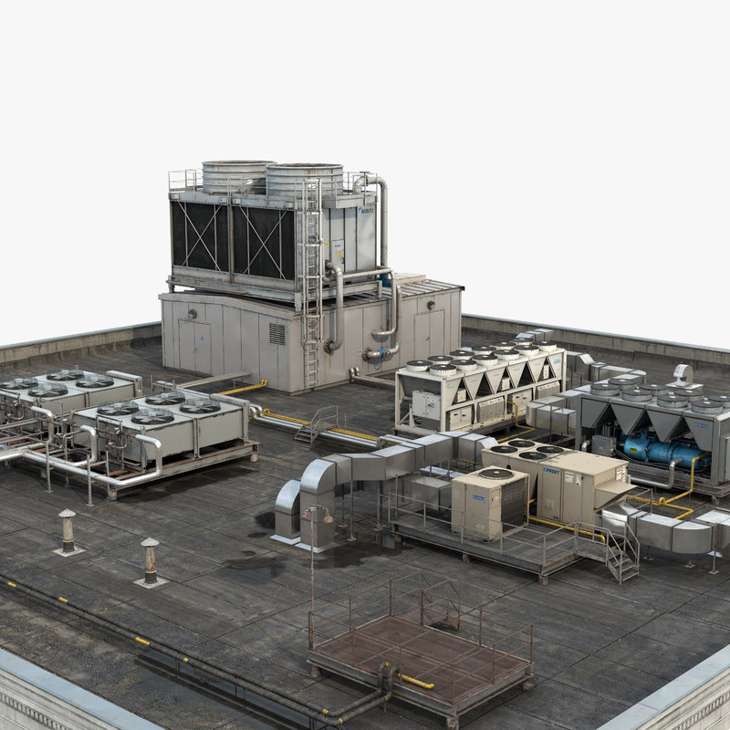 3D rooftop hvac systems model