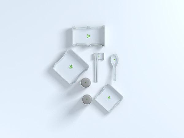 bamboo shape tableware set 3D model