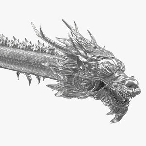 3D silver chinese dragon rigged model
