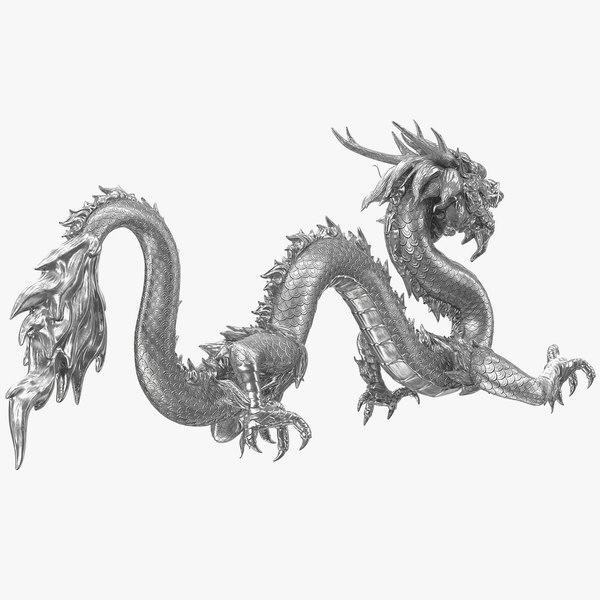 silver chinese dragon rigged 3D