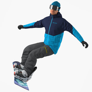 3D snowboard man snow board model