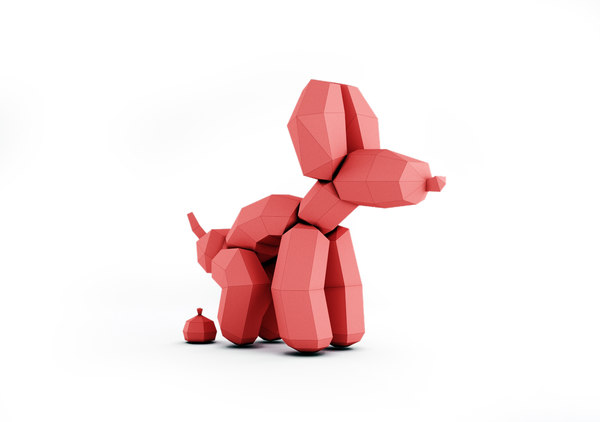 dog decorate papercraft 3D model