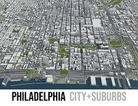 3D city philadelphia surrounding area
