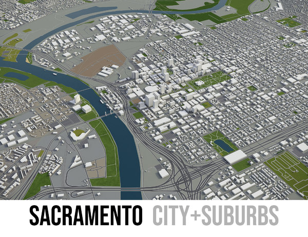 city sacramento surrounding area 3D model