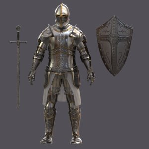 templar knight armor character 3D