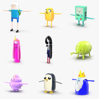 adventure time characters pack 3D model