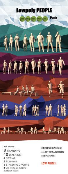 3D pack people standing walking