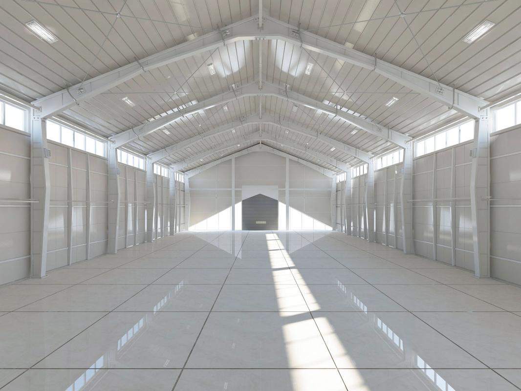 warehouse white office modeled model