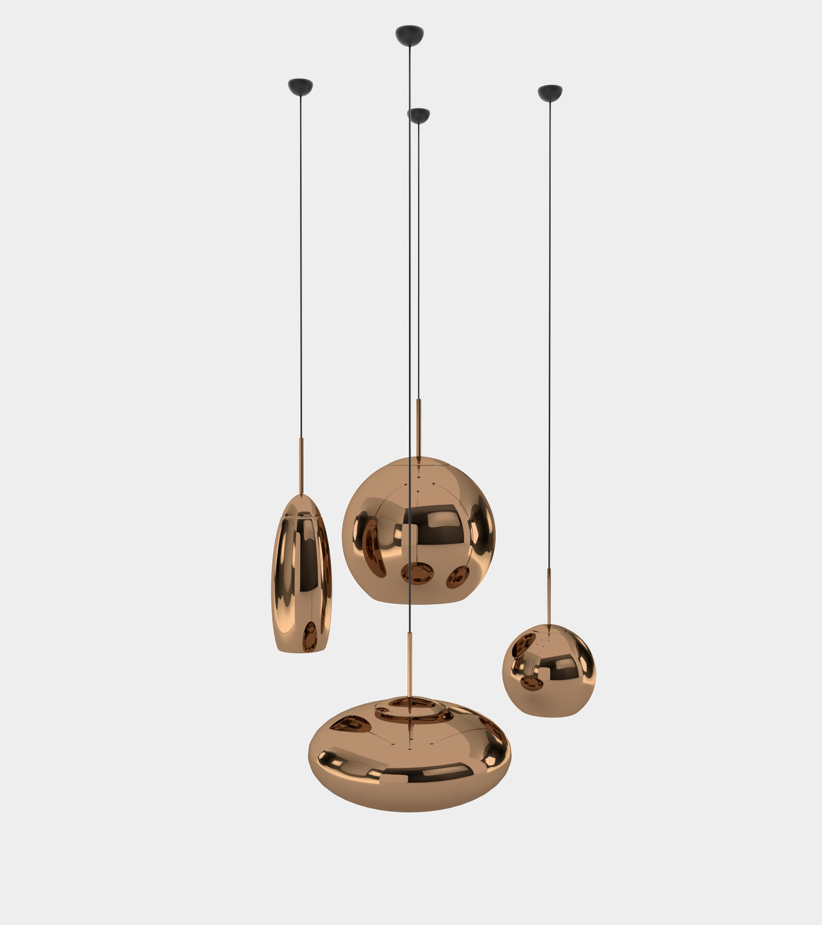de colgantes redondas Set lámparas cobre de tshdoxrBQC